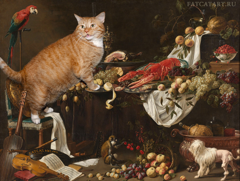 Adriaen van Utrecht, Still Life improved by the Cat