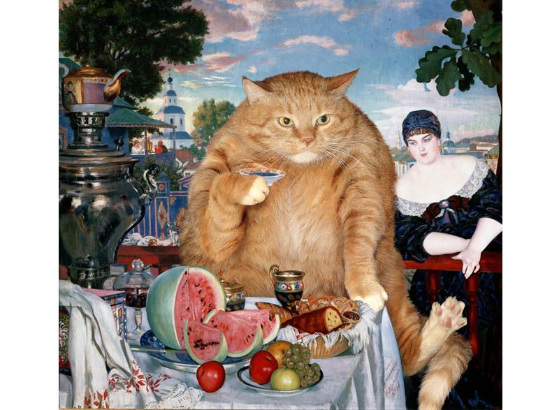 Boris Kustodiev, Cat's Tea with Merchant's Wife