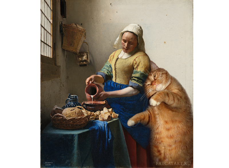 Johannes Vermeer, The Kitchen Maid and the Cat | FatCatArt