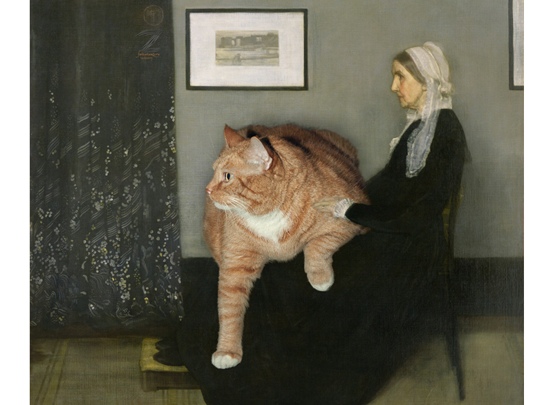 James Abbott McNeill Whistler,  Arrangement in Grey, Black and Ginger. Whistler's Mother with the Cat