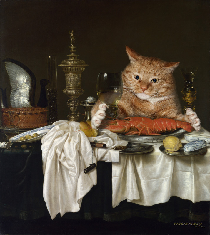 Willem Claesz Heda, Still Life with a Lobster Measured by a Cat