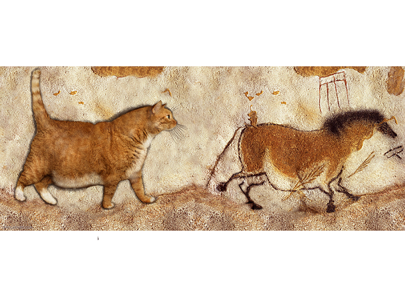 Lascaux Сave painting. Fat Cat and Fat Horse