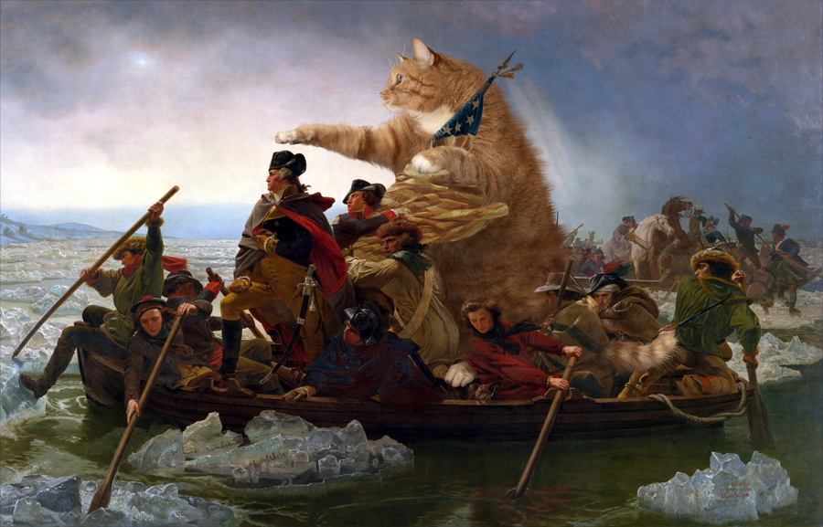 Emanuel Leutze. Washington Crossing the Delaware in a boat piloted by the Fat Cat