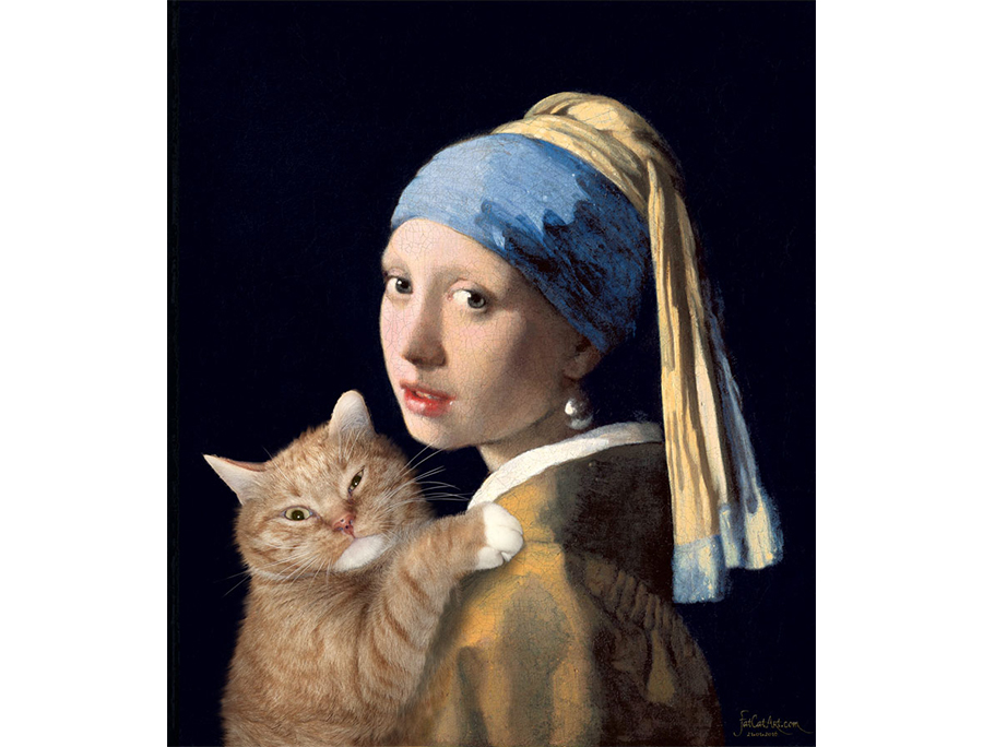 Johannes Vermeer. Girl with a Pearl Earring and a Ginger Cat