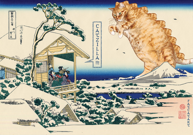 Katsushika Hokusai. The morning after a snowfall. Catzilla attacks