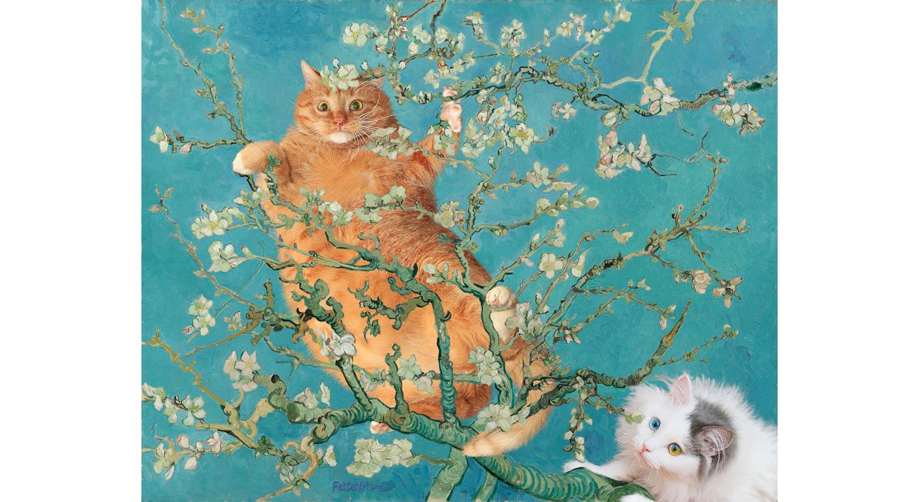 vincent van gogh cats in almond blossoms fatcatart. Black Bedroom Furniture Sets. Home Design Ideas