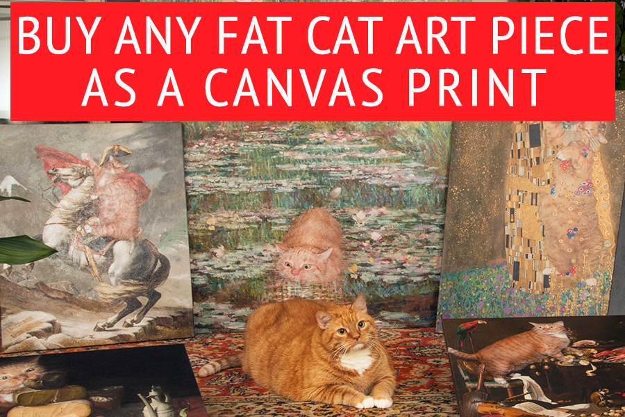 Any Fat Cat Art piece as a canvas print